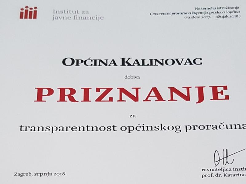 Općina Kalinovac dobiva priznanje za transparentnost općinskog proračuna
